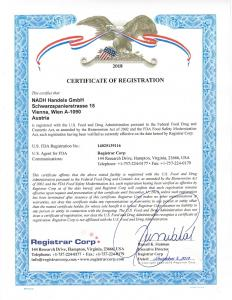 FDA Certificate of Registration
